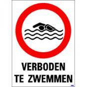 Verboden te zwemmen + tekst sticker